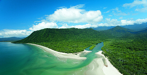 Aerial Daintree coastline
