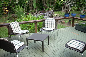 Chairs on deck at Cow Bay Homestay